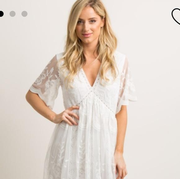 Pinkblush Dresses & Skirts - White Lace Mesh Overlay Maxi Dress